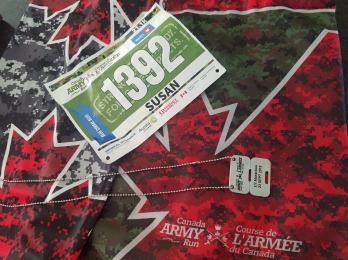army run race bib and dog tags