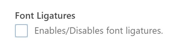 DisableLIgatures