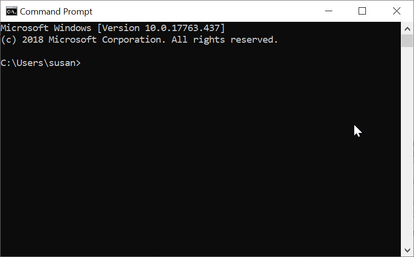 Default appearance of command window