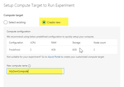 Create compute to run your experiment in Azurel Machine Learning Service Visual interface