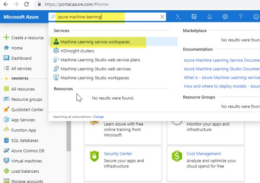 Creating Azure Machine Learning Service Workspace