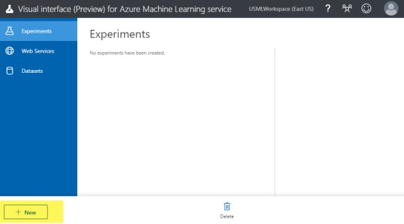 Home page Azure Machine Learning Service Visual Interface preview