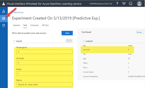 TEsting the trained model Azure MAchine Learning Service VIsual Interface