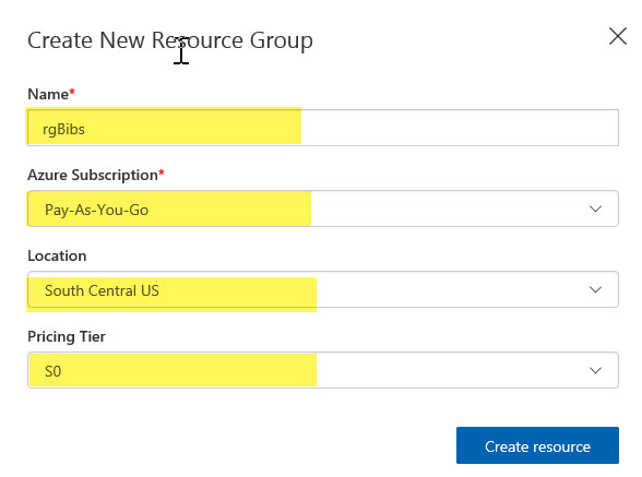 Create resource group