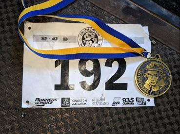 Race bib and medal