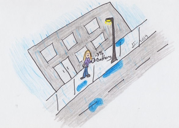 Person standing in the rain at night on desolated street with cell phone battery at 3%