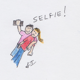Person looking uncomfortable as someone throws and arm around them and takes a selfie