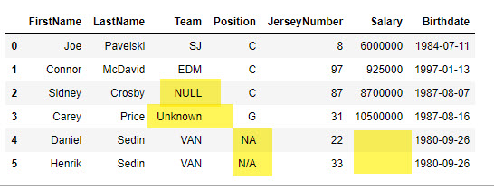 Dataset with missing and null values highlighted