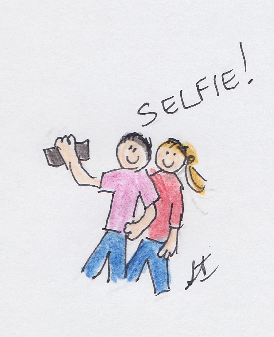 Person looking happy posing for slefie standing behind person holding the phone controlling their own personal space