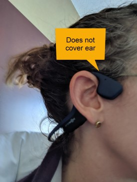 Shows headphone position as above not in ear